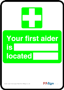 Free prinable First aid sign your first aider is located free template clipart Printable signage or low cost metal Faced Sign